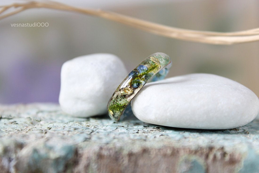 Forget-me-not Birch Bark Ring