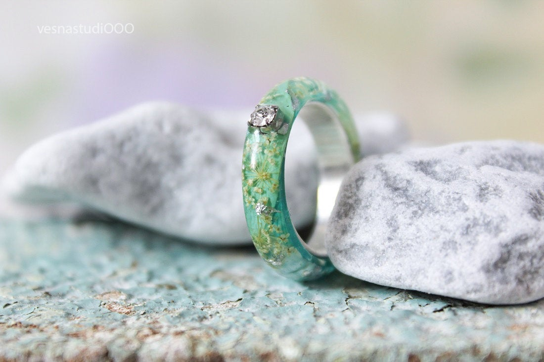Crystal Blue Engagement Resin Ring