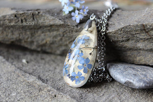 Forget-me-not Birch Bark Necklace