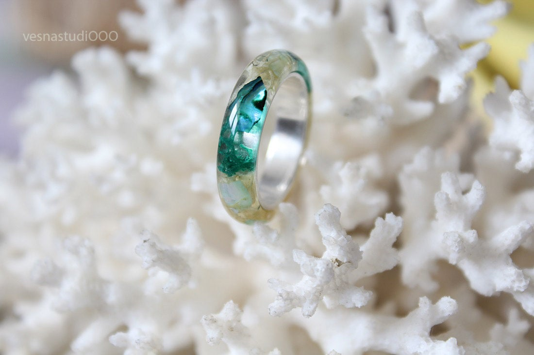 Ocean Blue Mother of Pearl Engagement Ring