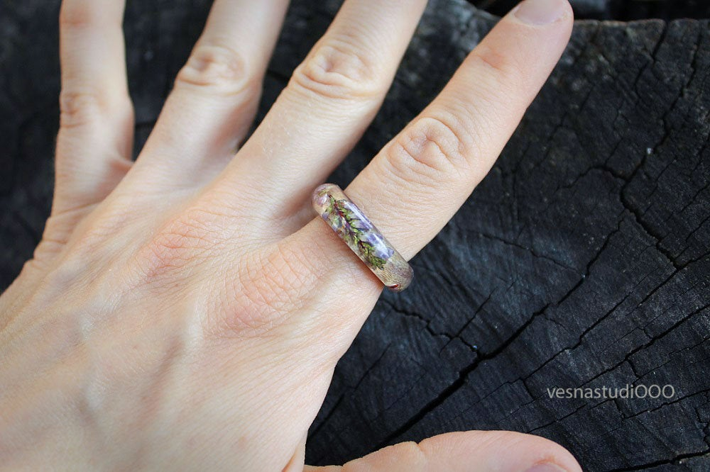 Forest Wood Heather Resin Ring
