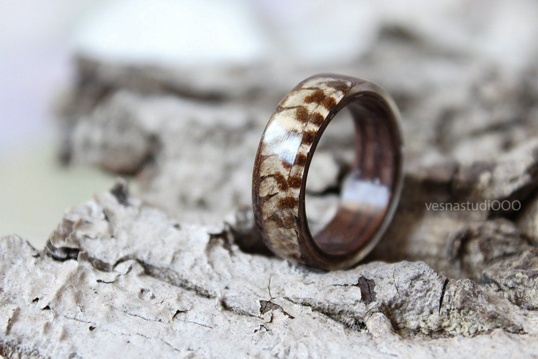 Real Fern Wood Resin Ring