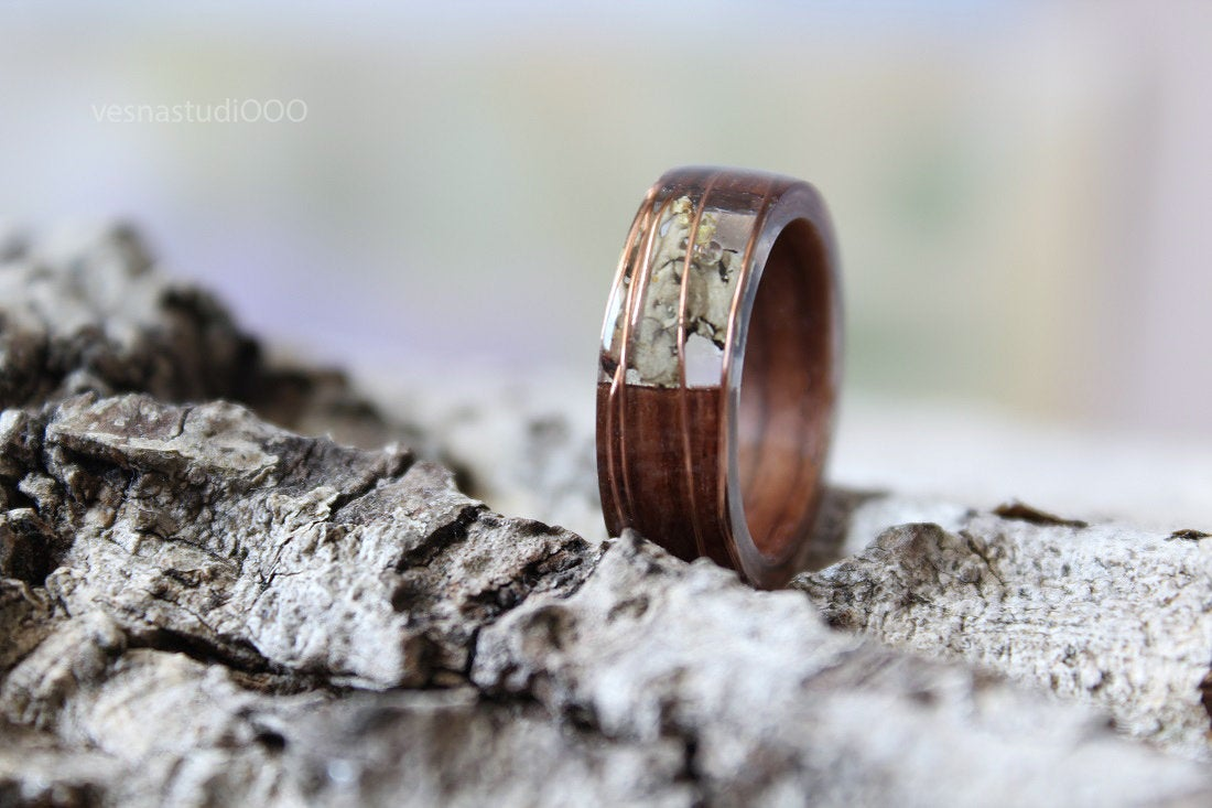 Brown Wood Copper Resin Ring