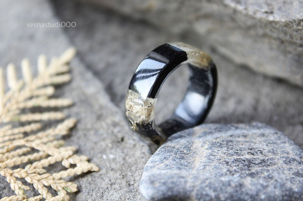 Black and White Wood Ring