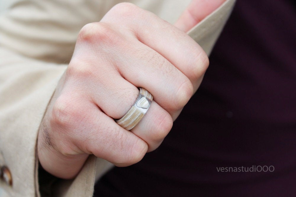 Avant Garde Minimalist White Wood Ring