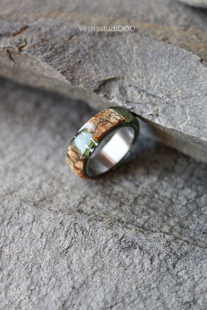 Real Fern Birch Bark Men's Ring