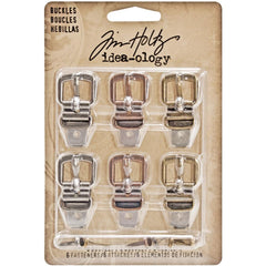 "Idea-Ology Metal Buckles W/Brads 1.5"" 6/Pkg - Antique Nickel, Brass & Copper"