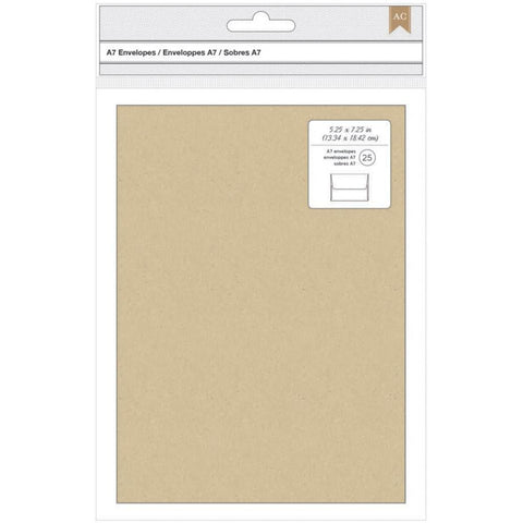 "American Crafts A7 Envelopes (5.25""X7.25"") 25/Pkg - Kraft"