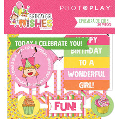 Birthday Girl Wishes Ephemera Cardstock Die-Cuts 26/Pkg - PhotoPlay