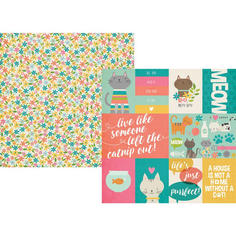 "Life Is Purrfect - Simple Sets Double-Sided Cardstock 12""X12"" - 3""X4"" & 4""X6"" Journaling Cards"