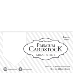 "Core'dinations Value Pack Smooth Cardstock 12""X12"" 20/Pkg - Great White"