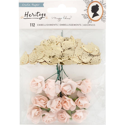 Heritage - Maggie Holmes - Crate Paper - Embellishments - Paper Flowers & Gold Leaf Sequins