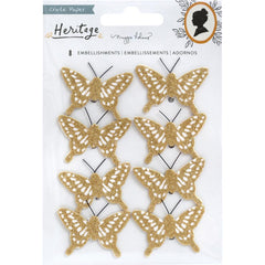 Heritage - Maggie Holmes - Crate Paper - Cardstock Butterflies 8/Pkg - W/Gold Glitter Accents
