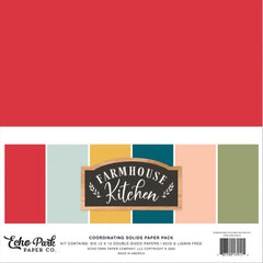 "Farmhouse Kitchen - Echo Park - Double-Sided Cardstock 12""X12"" 6/Pkg - Solids"