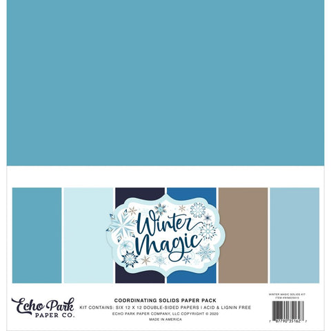 "Winter Magic - Echo Park - Double-Sided Cardstock 12""X12"" 6/Pkg - Solids"