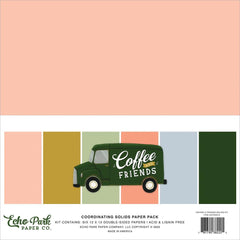 "Coffee & Friends - Echo Park - Double-Sided Cardstock 12""X12"" 6/Pkg - Solids"