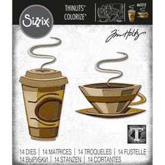 Sizzix Thinlits Dies By Tim Holtz 15/Pkg - Cafe (Colorize)