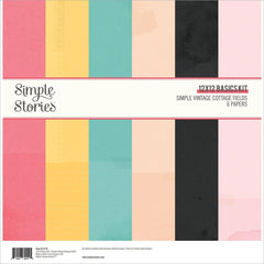 "Simple Vintage Cottage Fields - Simple Stories - Double-Sided Paper Pack 12""X12"" 6/Pkg - Solids"
