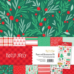 "Holly Jolly - My Mind's Eye - Paper & Accessories Kit 12""X12"""
