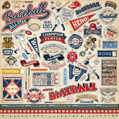 "Baseball - Carta Bella - Cardstock Stickers 12""X12"" - Elements"