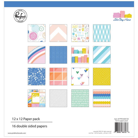 "Let's Stay Home - Pinkfresh Studios - Double-Sided Paper Pack 12""X12"" 16/Pkg"