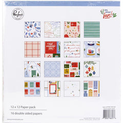 "Oh What Fun - PinkFresh Studios - Double-Sided Paper Pack 12""X12"" 16/Pkg"