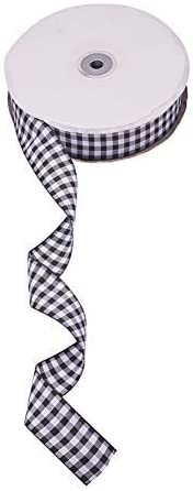 "Gingham Checked Plaid Ribbon - 1.25"" wide Black & White - 1 yd"