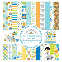 "Party Time - Doodlebug - Double-Sided Paper Pack 12""X12"" 12/Pkg"