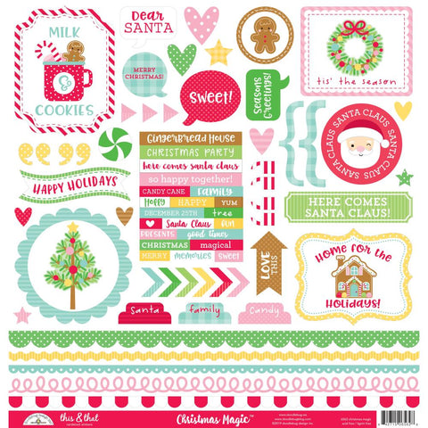 "Christmas Magic - Doodlebug - Cardstock Stickers 12""X12"" - This & That"