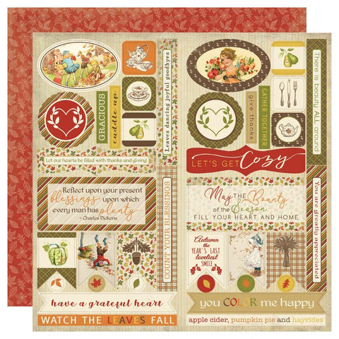 "Gracious - Authentique - Double-Sided Cardstock Die-Cut Sheet 12""X12"" - Elements"