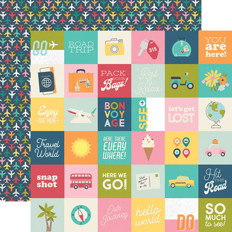 "Going Places - Simple Stories - Double-Sided Cardstock 12""X12"" - 2""X2"" Elements"