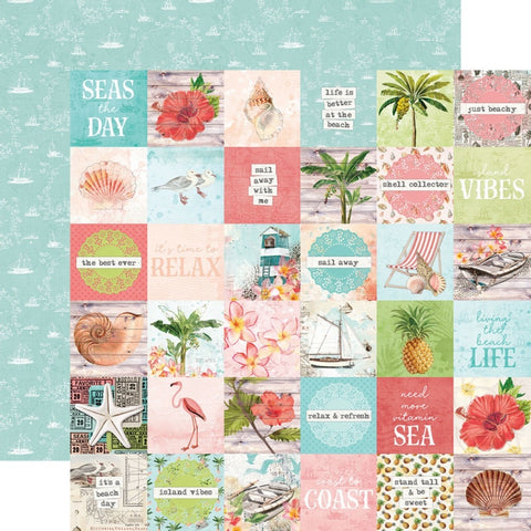 "Simple Vintage Coastal - Simple Stories - Double-Sided Cardstock 12""X12"" - 2""X2"" Elements"