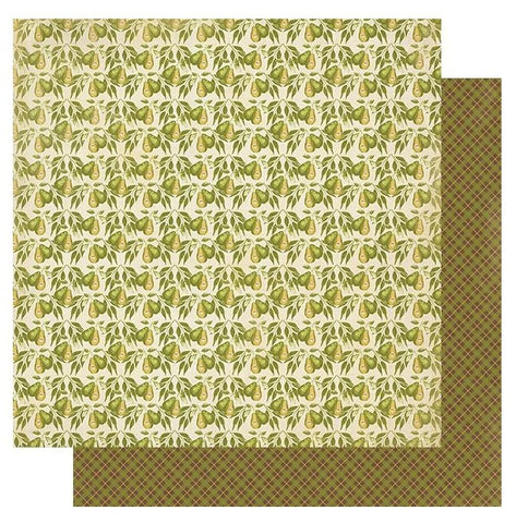"Gracious - Authentique - Double-Sided Cardstock 12""X12"" - #2 Pears W/Leaves"