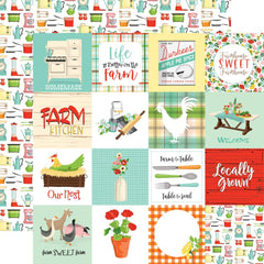 "Farm To Table - Carta Bella - Double-Sided Cardstock 12""X12"" - 3""X3"" Journaling Cards"