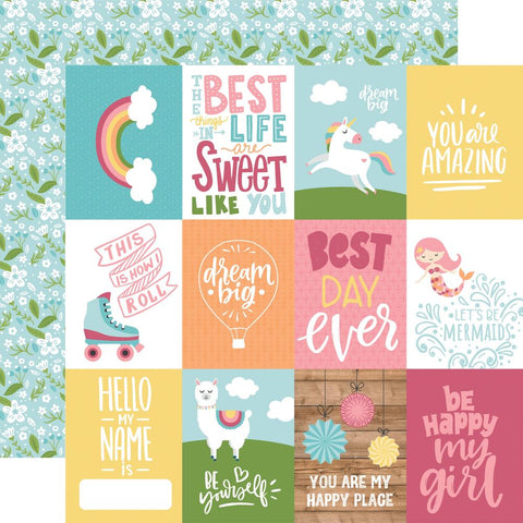 "All Girl - Echo Park - Double-Sided Cardstock 12""X12"" - 3""X4"" Journaling Cards"