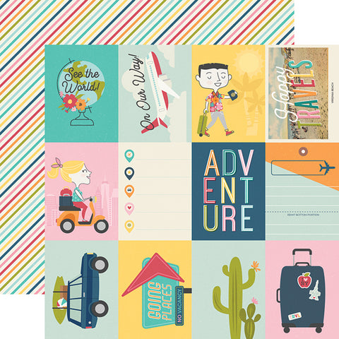 "Going Places - Simple Stories - Double-Sided Cardstock 12""X12"" - 3""X4"" Elements"