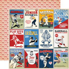 "Baseball - Carta Bella - Double-Sided Cardstock 12""X12"" - 3""x4"" Journaling Cards"