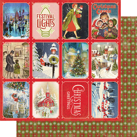"Christmas Greetings - Authentique - Double-Sided Cardstock 12""X12"" - #3 Small Town 3""X4"" Cut-Aparts"