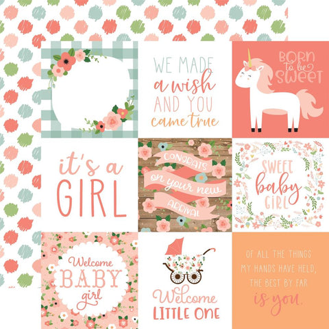 "Baby Girl - Echo Park - Double-Sided Cardstock 12""X12"" - 4""X4"" Journaling Cards"