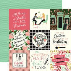 "Salon - Echo Park - Double-Sided Cardstock 12""X12"" - 4""X4"" Journaling Cards"