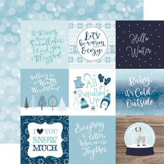 "Winter Magic - Echo Park - Double-Sided Cardstock 12""X12"" - 4""X4"" Journaling Cards"