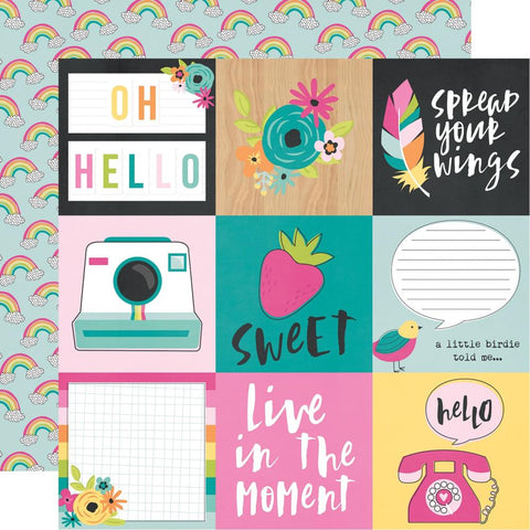 "Oh Happy Day - Simple Stories - Double-Sided Cardstock 12""X12"" - 4""X4"" Elements"