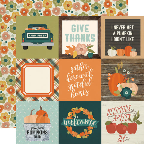 "Fall Farmhouse - Simple Stories - Double-sided Cardstock 12""x12"" - 4""x4"" Elements"