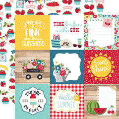 "A Slice Of Summer - Echo Park - Double-Sided Cardstock 12""X12"" - 4""X4"" Journaling Cards"
