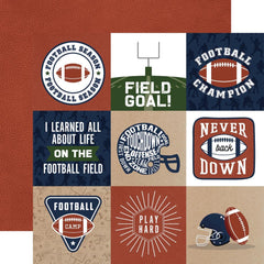 "Football - Echo Park - Double-Sided Cardstock 12""X12"" - 4""X4"" Journaling Cards"