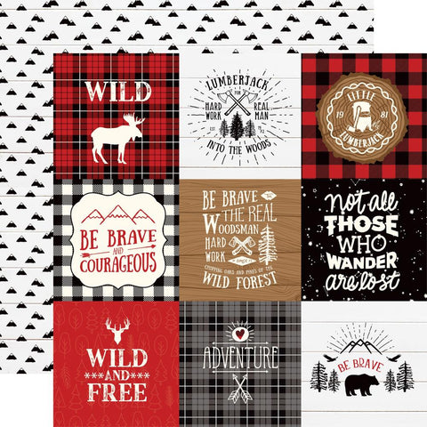 "Little Lumberjack - Echo Park - Double-Sided Cardstock 12""X12"" - 4""X4"" Journaling Cards"