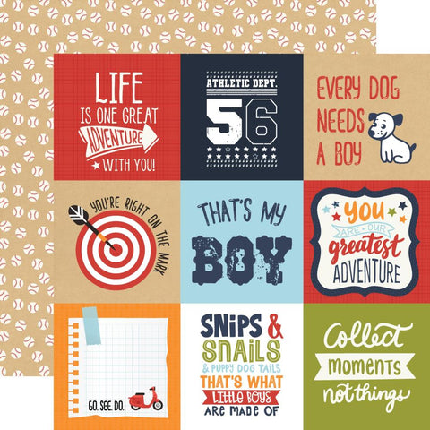 "All Boy - Echo Park - Double-Sided Cardstock 12""X12"" - 4""X4"" Journaling Cards"