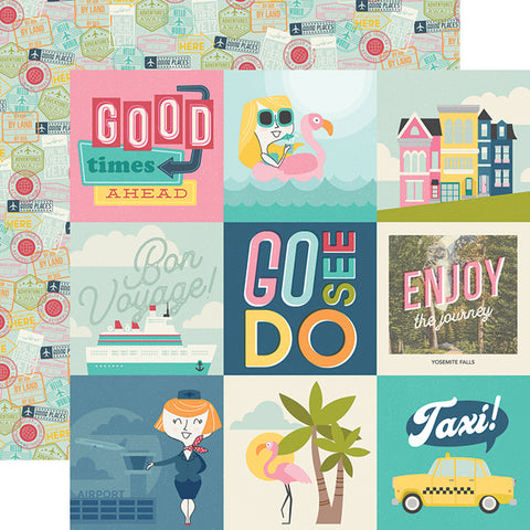 "Going Places - Simple Stories - Double-Sided Cardstock 12""X12"" - 4""X4"" Elements"