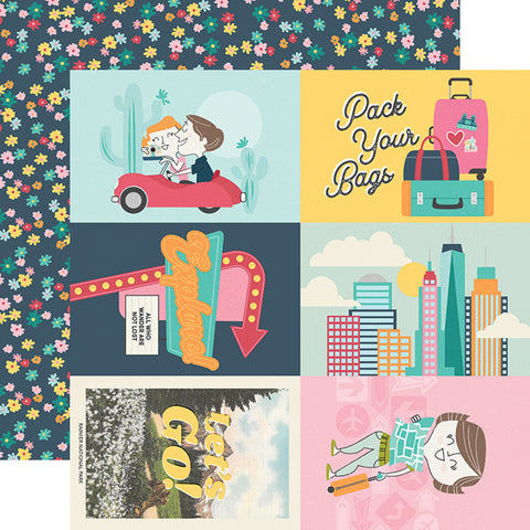 "Going Places - Simple Stories - Double-Sided Cardstock 12""X12"" - 4""X6"" Elements"