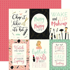 "Salon - Echo Park - Double-Sided Cardstock 12""X12"" - 4""X6"" Journaling Cards"